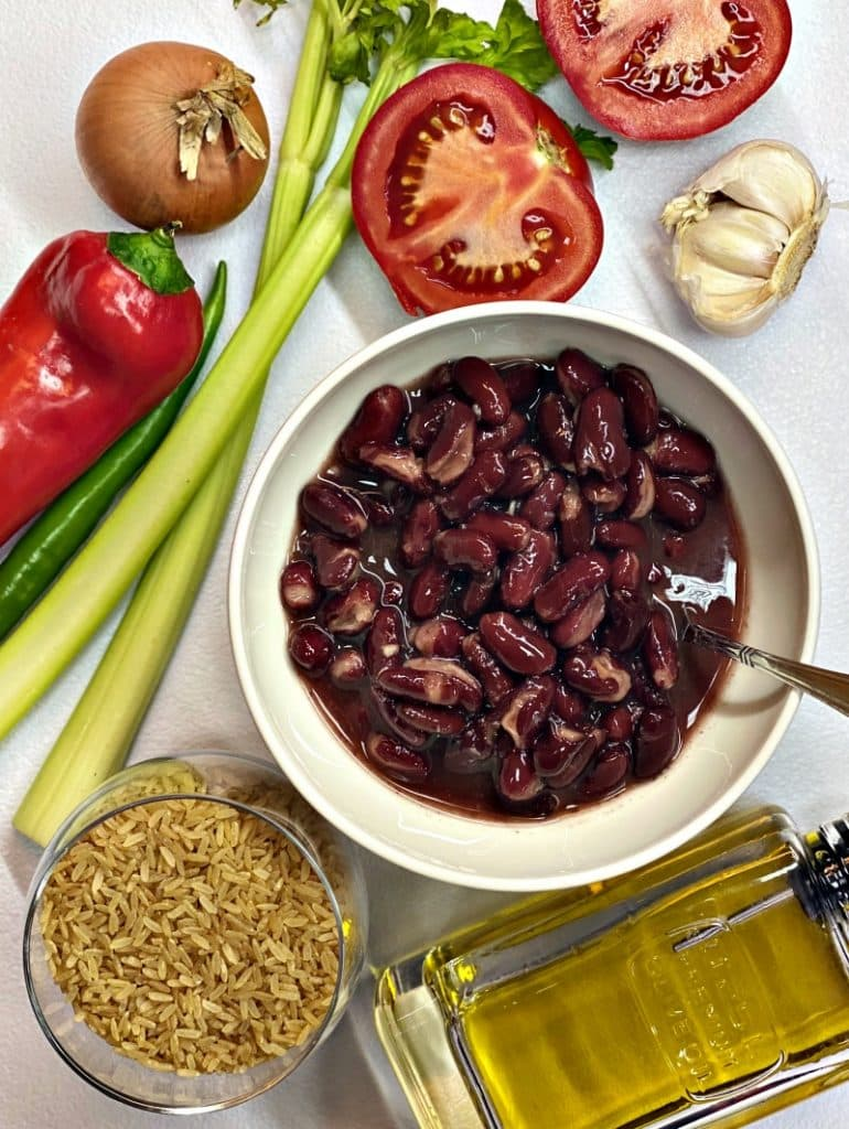 Red beans and rice ingredients