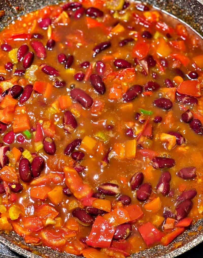 Red beans and rice sautéed in the skillet