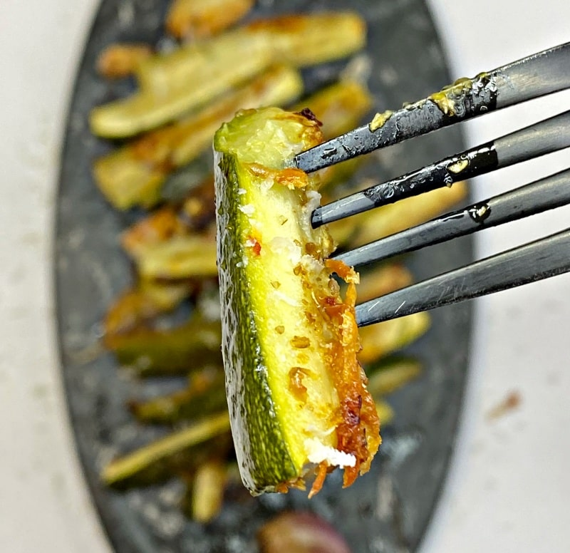 Roasted zucchini with parmesan and garlic