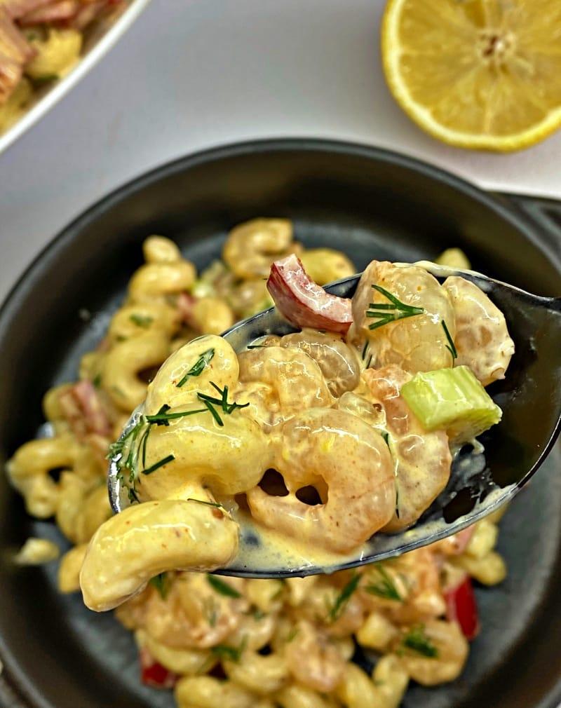 Shrimp Pasta Salad with fresh veggies and best dressing