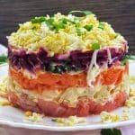 Layered Russian salmon salad