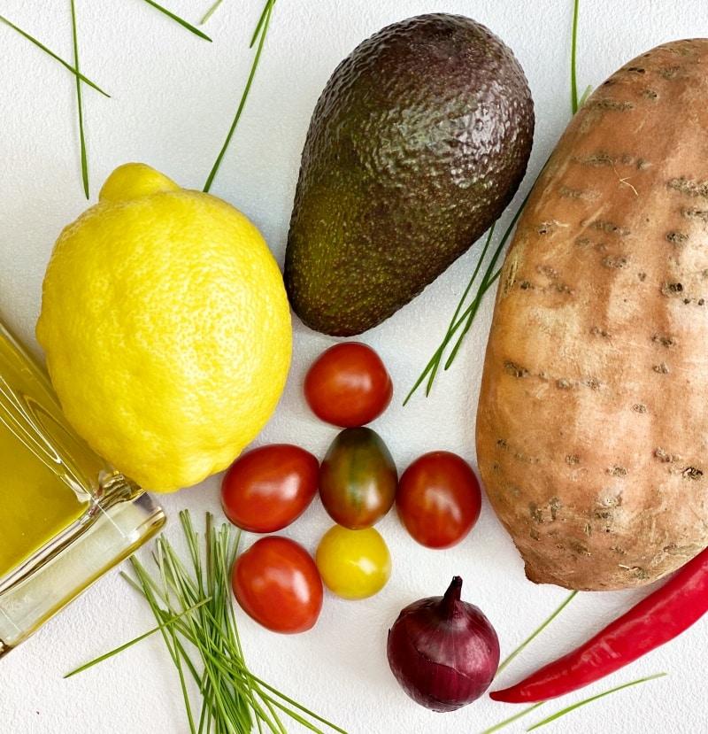 Sweet potato with guacamole ingredients