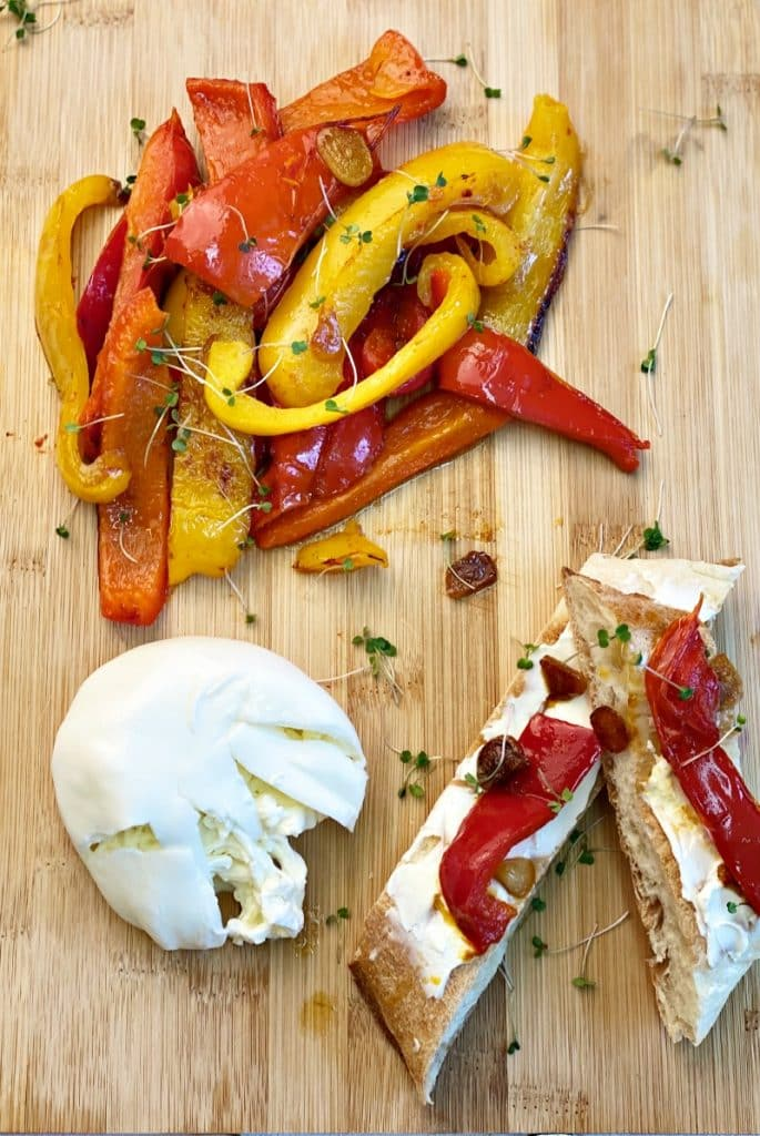 Burrata Appetizer with Baked Peppers
