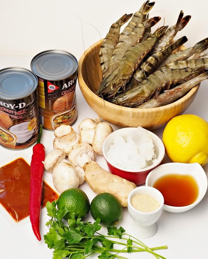 shrimps prawns coconut milk ginger lime fish sauce red curry paste
