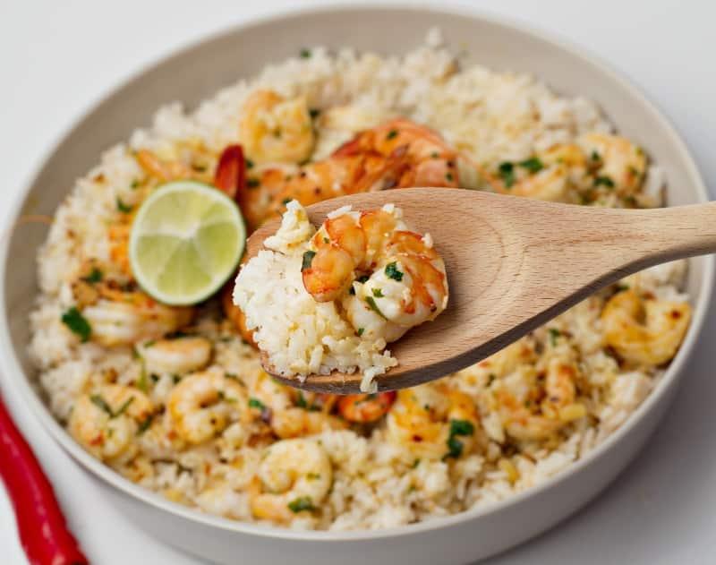 coconut rice with garlic shrimps recipe