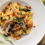 creamy asparagust fettuccini with mushrooms